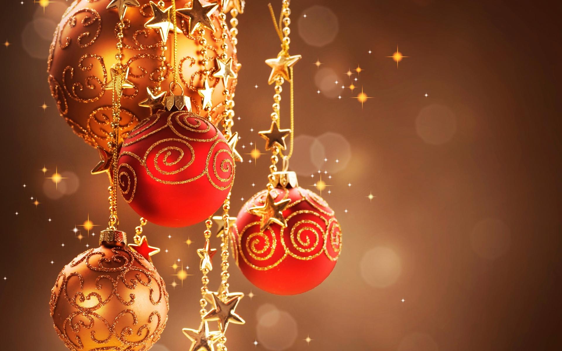 Елочные игрушки на цепочках - C Рождеством Христовым поздравительные картинки