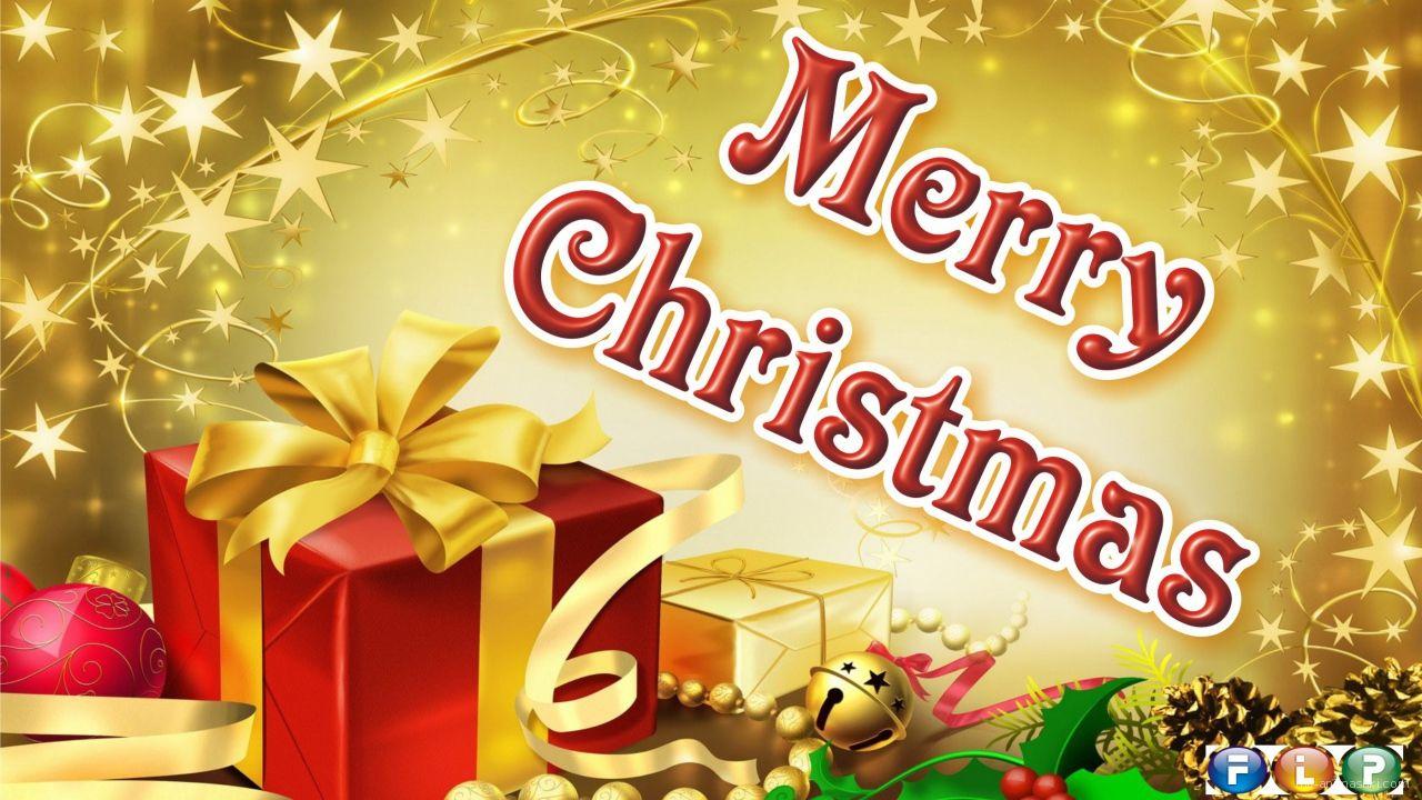 Подарок с ёлочными игрушками на рождество, золотистый фон - C Рождеством Христовым поздравительные картинки
