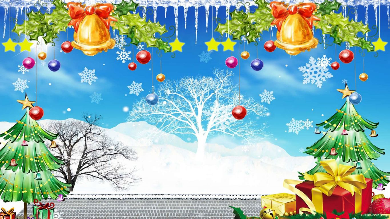 Разноцветная картинка с колокольчика и ёлками на рождество - C Рождеством Христовым поздравительные картинки