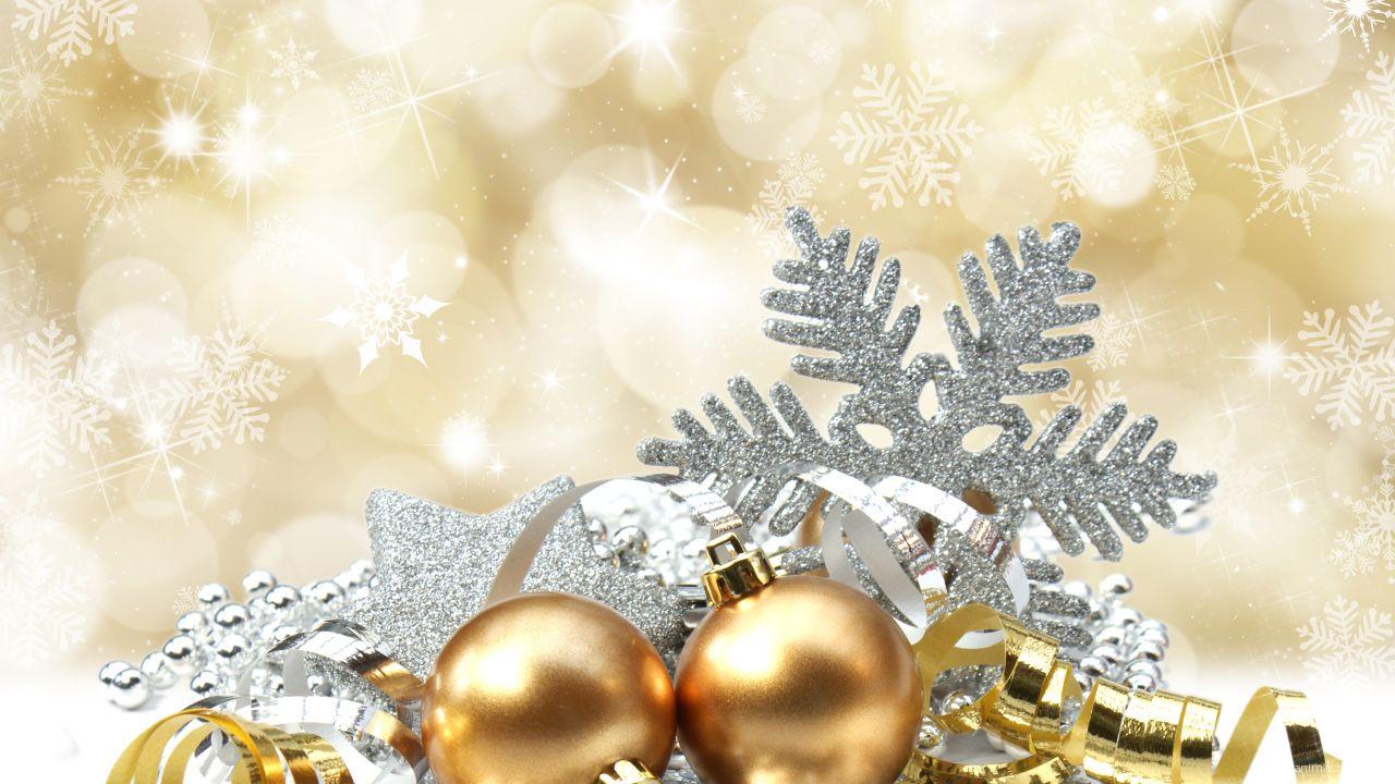 Золотые шары на рождество - C Рождеством Христовым поздравительные картинки