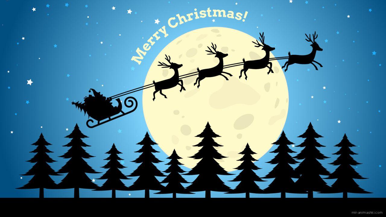 Упряжка с оленями и Дедом Морозом на фоне луны на рождество - C Рождеством Христовым поздравительные картинки