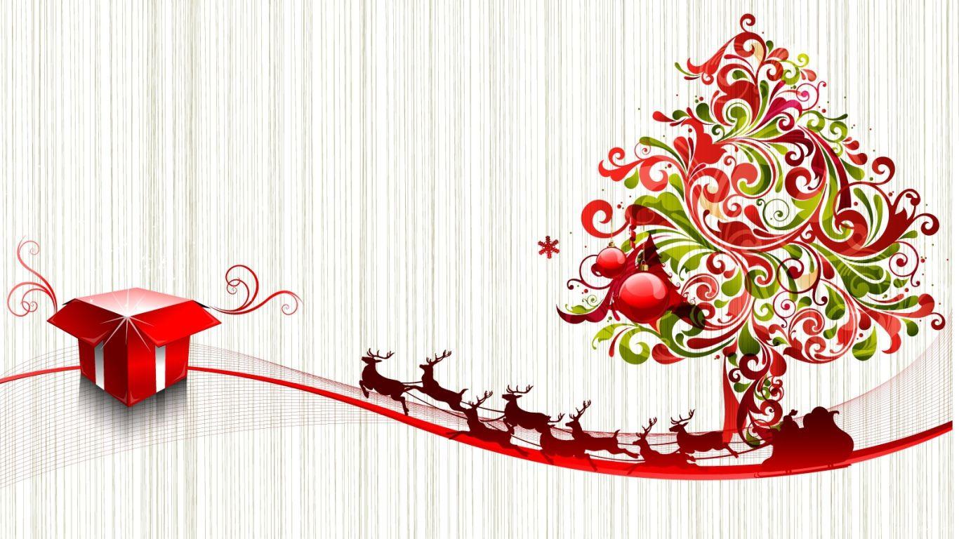 Красно-зелёная ёлка с оленями на светлом фоне на рождество - C Рождеством Христовым поздравительные картинки