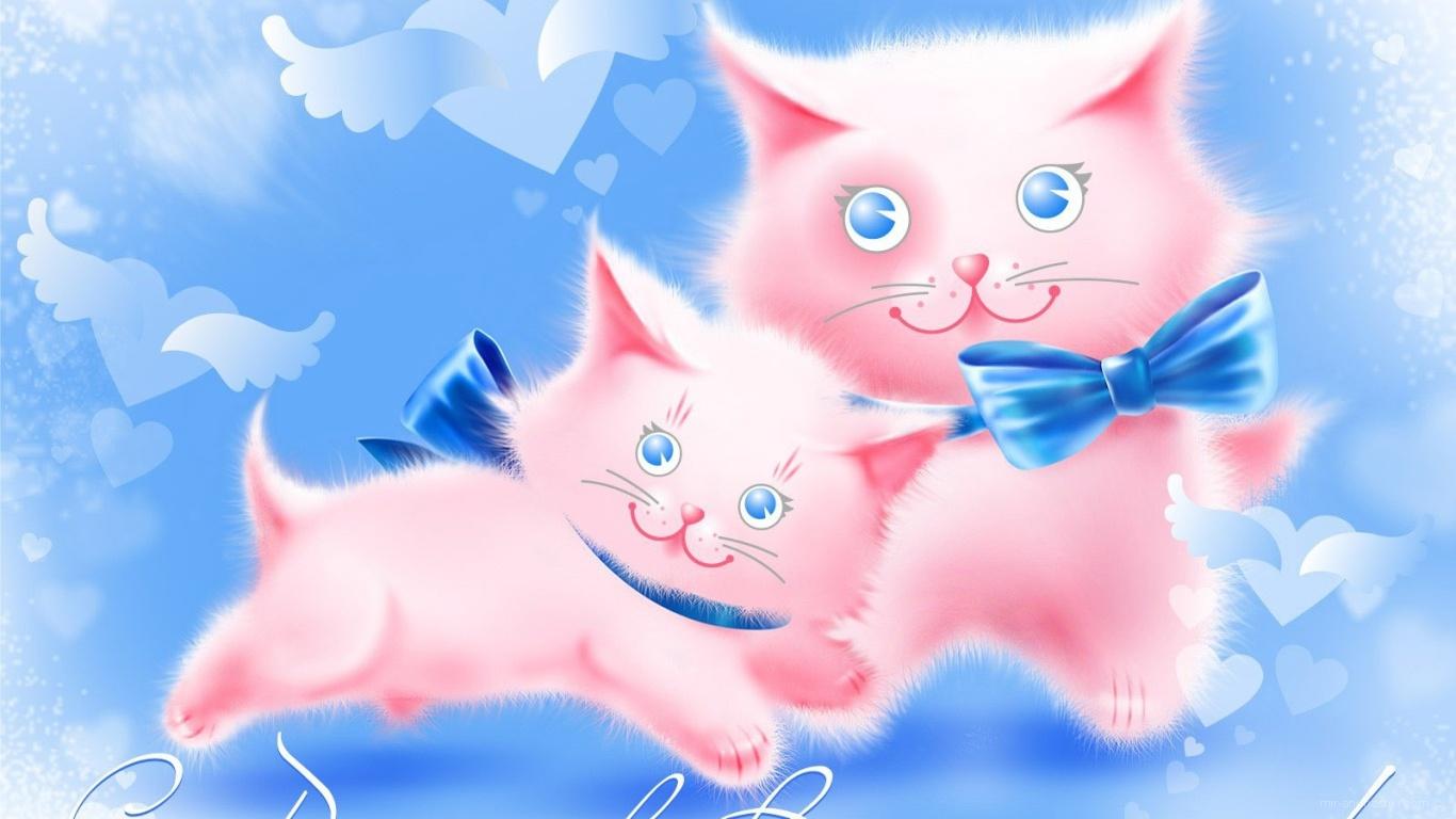 Два розовых кота на День Влюбленных 14 февраля - С днем Святого Валентина поздравительные картинки