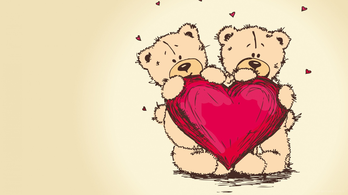 Два мишки с сердцем на День Влюбленных 14 февраля - С днем Святого Валентина поздравительные картинки