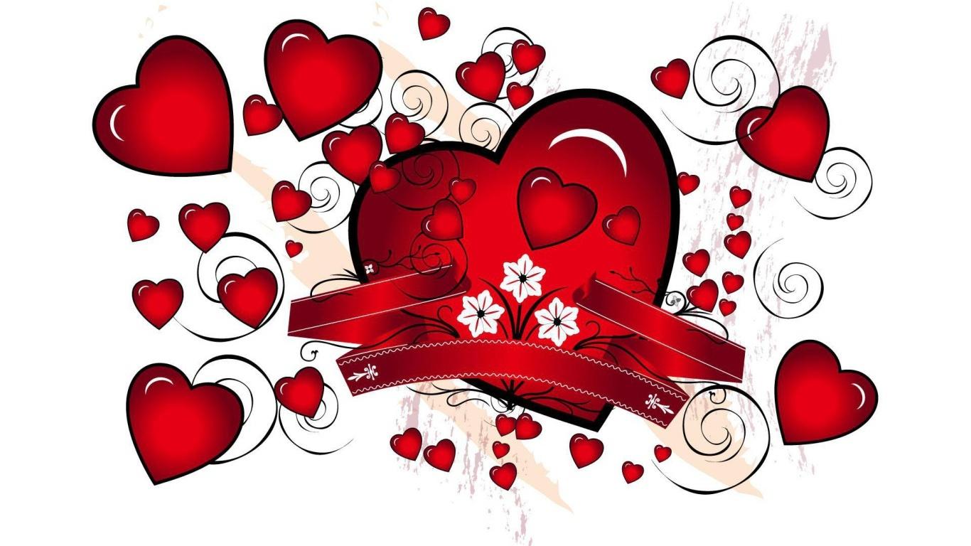 Красные сердца на День Святого Валентина 14 февраля - С днем Святого Валентина поздравительные картинки