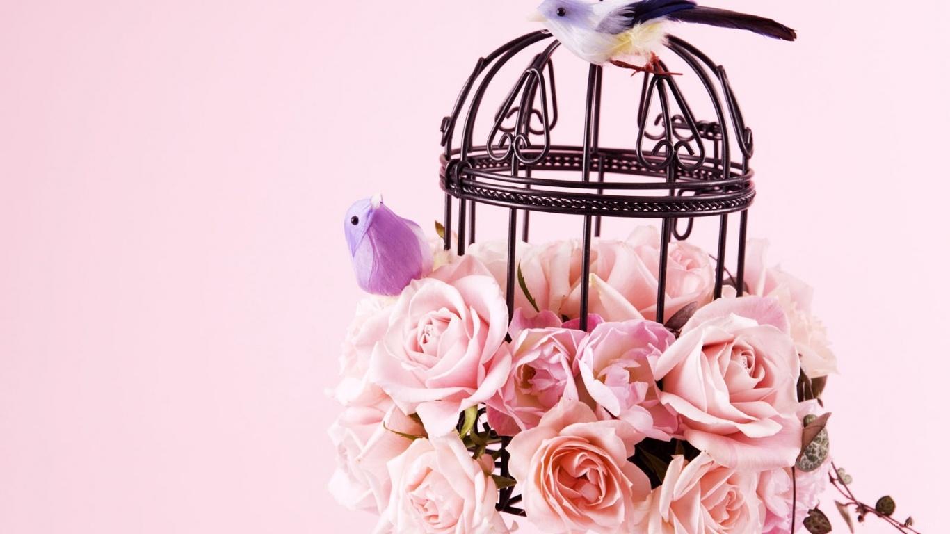 Птицы и цветы на 8 марта - C 8 марта поздравительные картинки