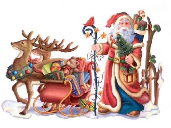 Добрый волшебник приготовился к долгому пути - Дед Мороз и Снегурочка поздравительные картинки