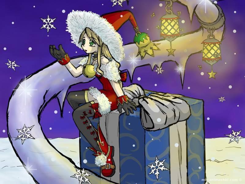 Снегурочка аниме - Дед Мороз и Снегурочка поздравительные картинки