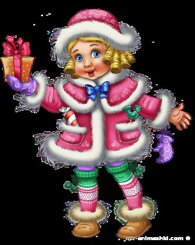 Девочка-Снегурочка - Дед Мороз и Снегурочка поздравительные картинки