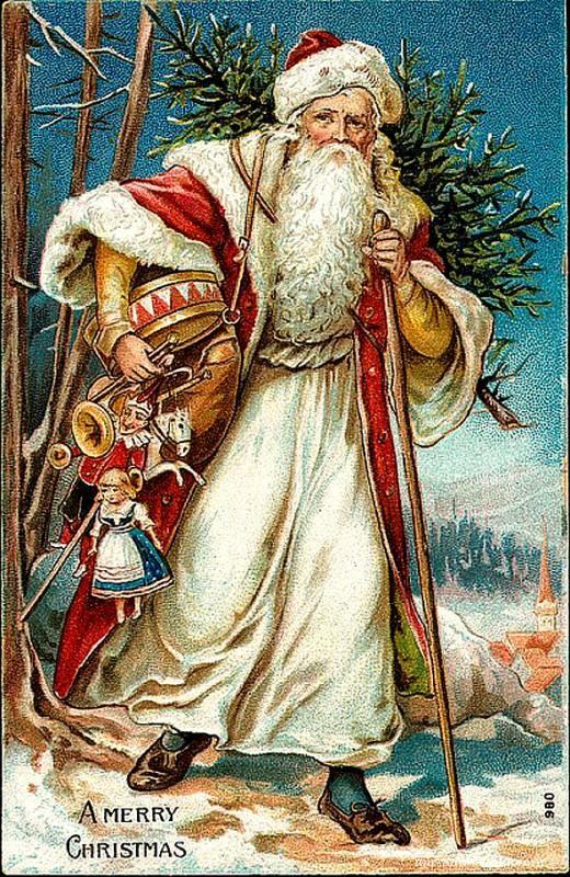 Викторианский Дед Мороз с подарками - Дед Мороз и Снегурочка поздравительные картинки