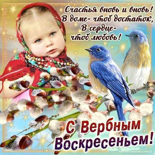 Открытка с поздравлением в Вербное Воскресенье - С Вербным Воскресеньем поздравительные картинки