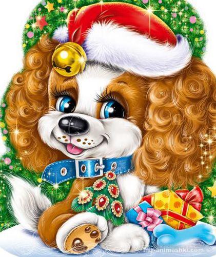 Яркая новогодняя открытка с щенком - C Новым годом 2019 поздравительные картинки