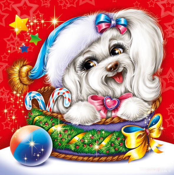 Открытки на Новый год 2018 с Собакой - C Новым годом 2020 поздравительные картинки