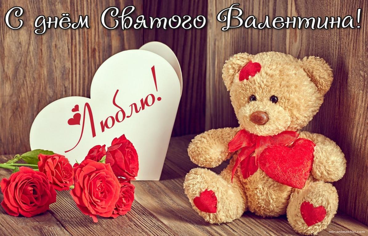 Открытка с розами и плюшевым мишкой - С днем Святого Валентина поздравительные картинки