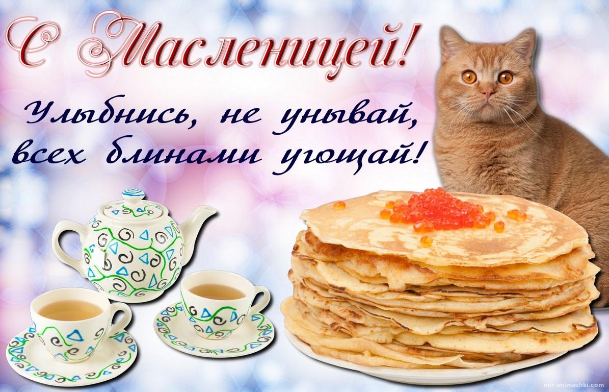 Открытка с чаем и блинами с икрой - С Масленицей поздравительные картинки