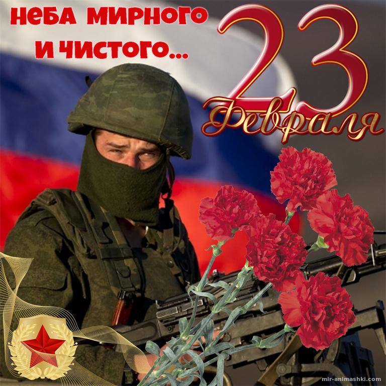 Открытка на 23 февраля с красными гвоздиками - С 23 февраля поздравительные картинки