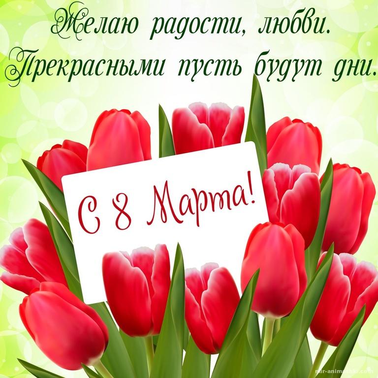 Открытка с красными тюльпанами на 8 марта - C 8 марта поздравительные картинки