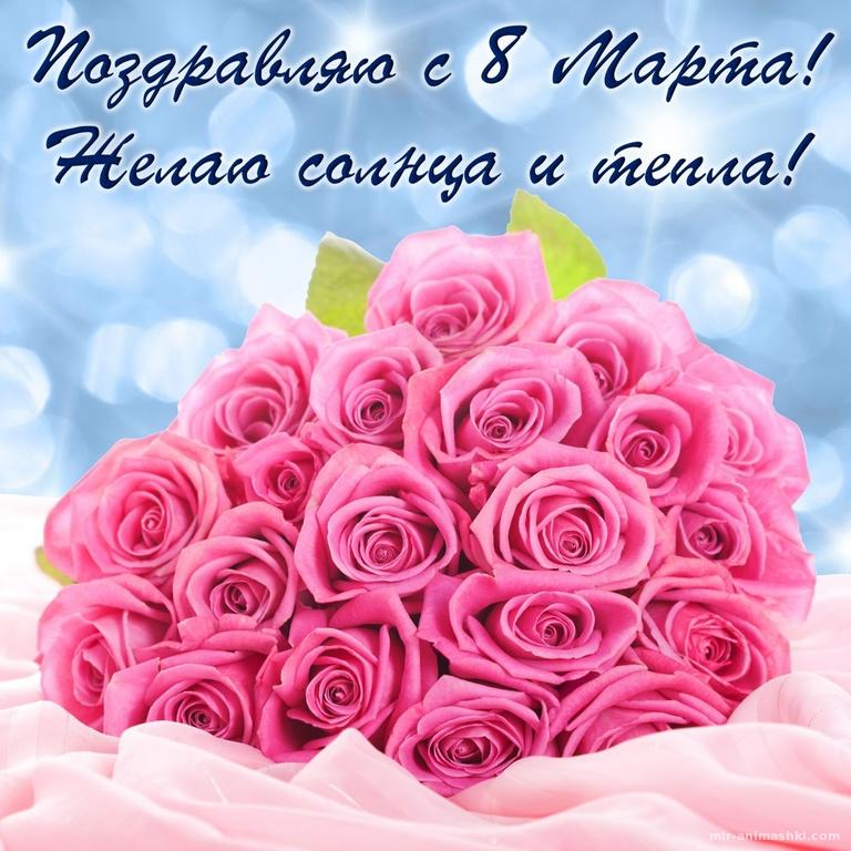 Огромный букет розовых роз и пожелание - C 8 марта поздравительные картинки