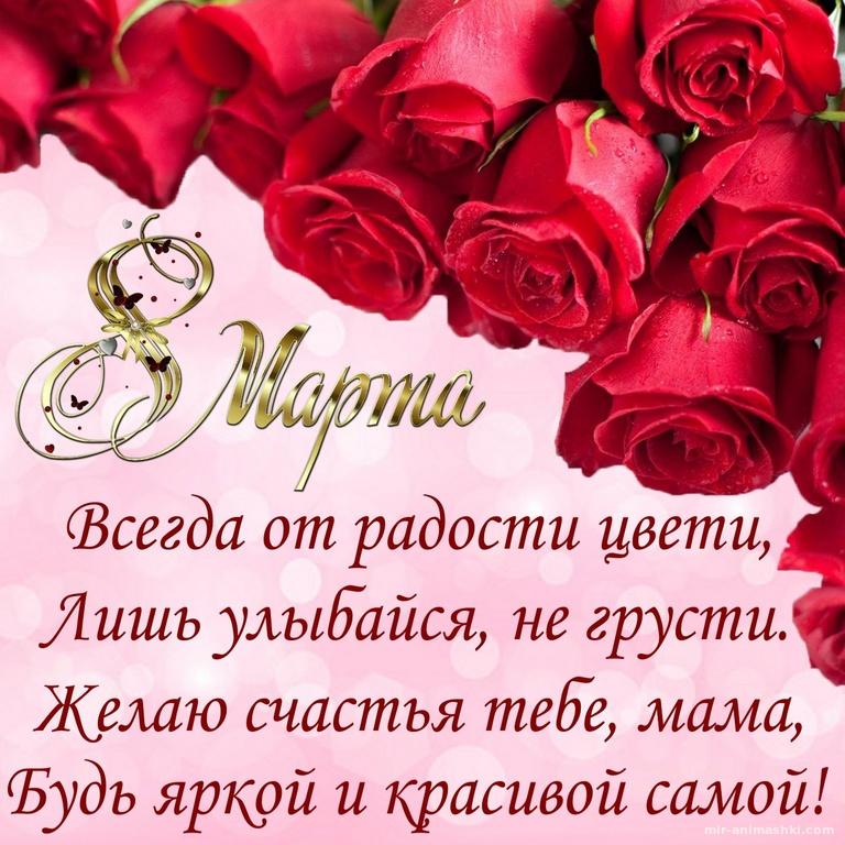 Поздравление и розы для мамы на 8 марта - C 8 марта поздравительные картинки