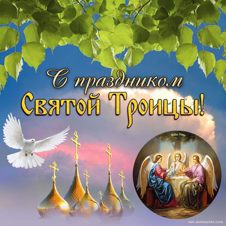 Картинка с березовыми листьями на Троицу - С Троицей поздравительные картинки