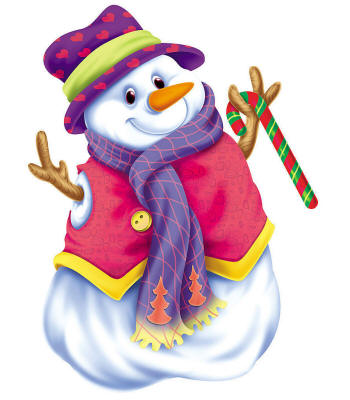 Веселый белоснежный снеговик принарядился к Рождеству - C Новым годом 2021 поздравительные картинки