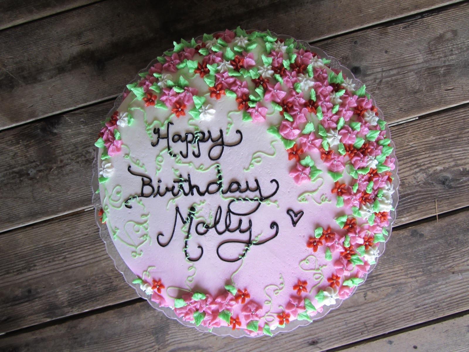 Торт ко дню рождения покрыт цветами - С Днем Рождения поздравительные картинки