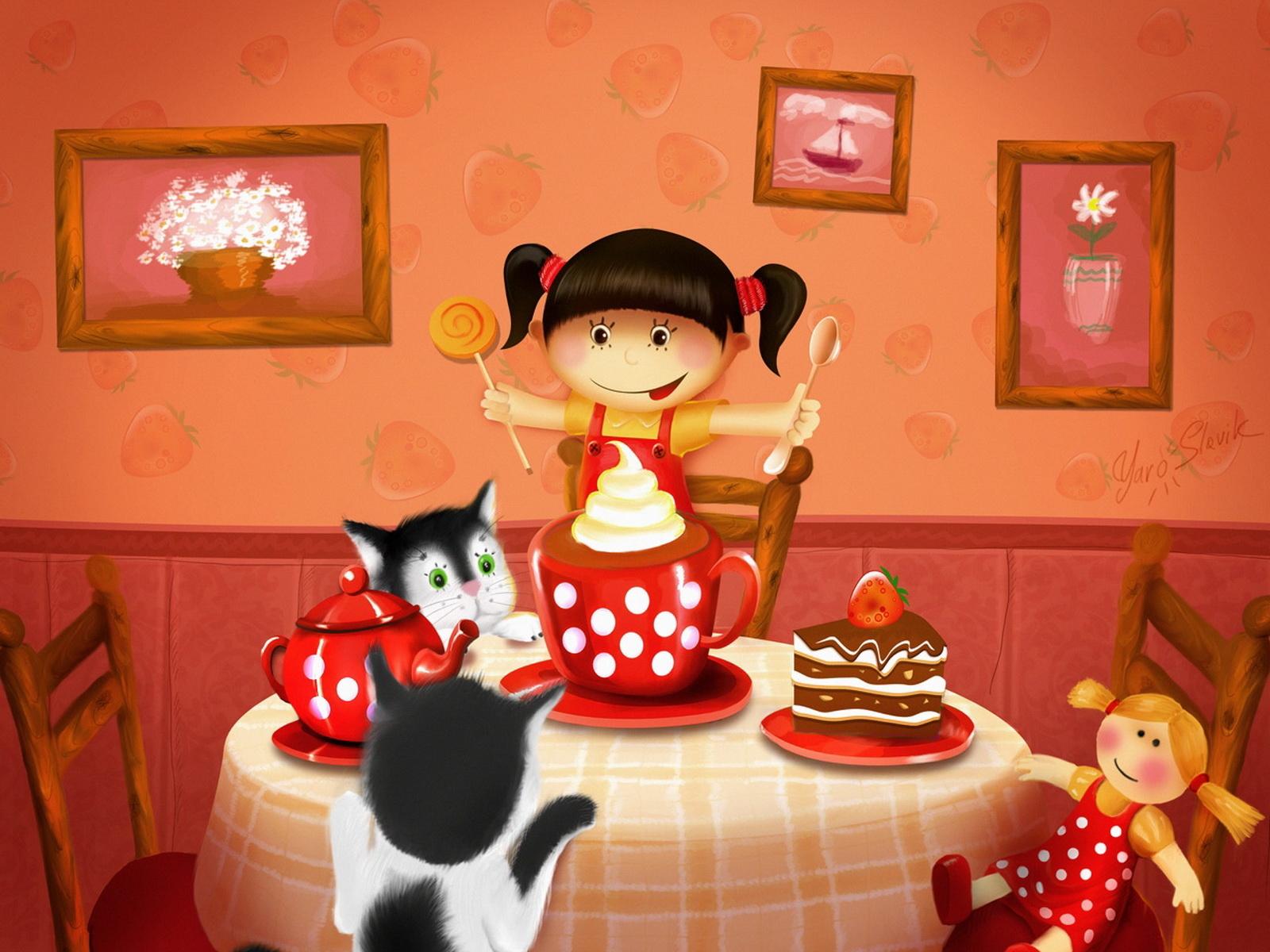 За праздничным столом - С Днем Рождения поздравительные картинки