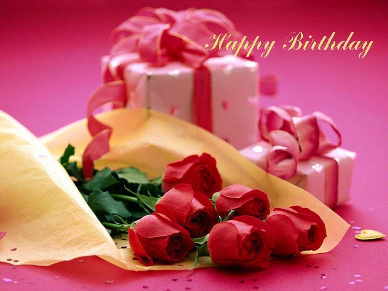 Розы и подарки в день рождения - С Днем Рождения поздравительные картинки