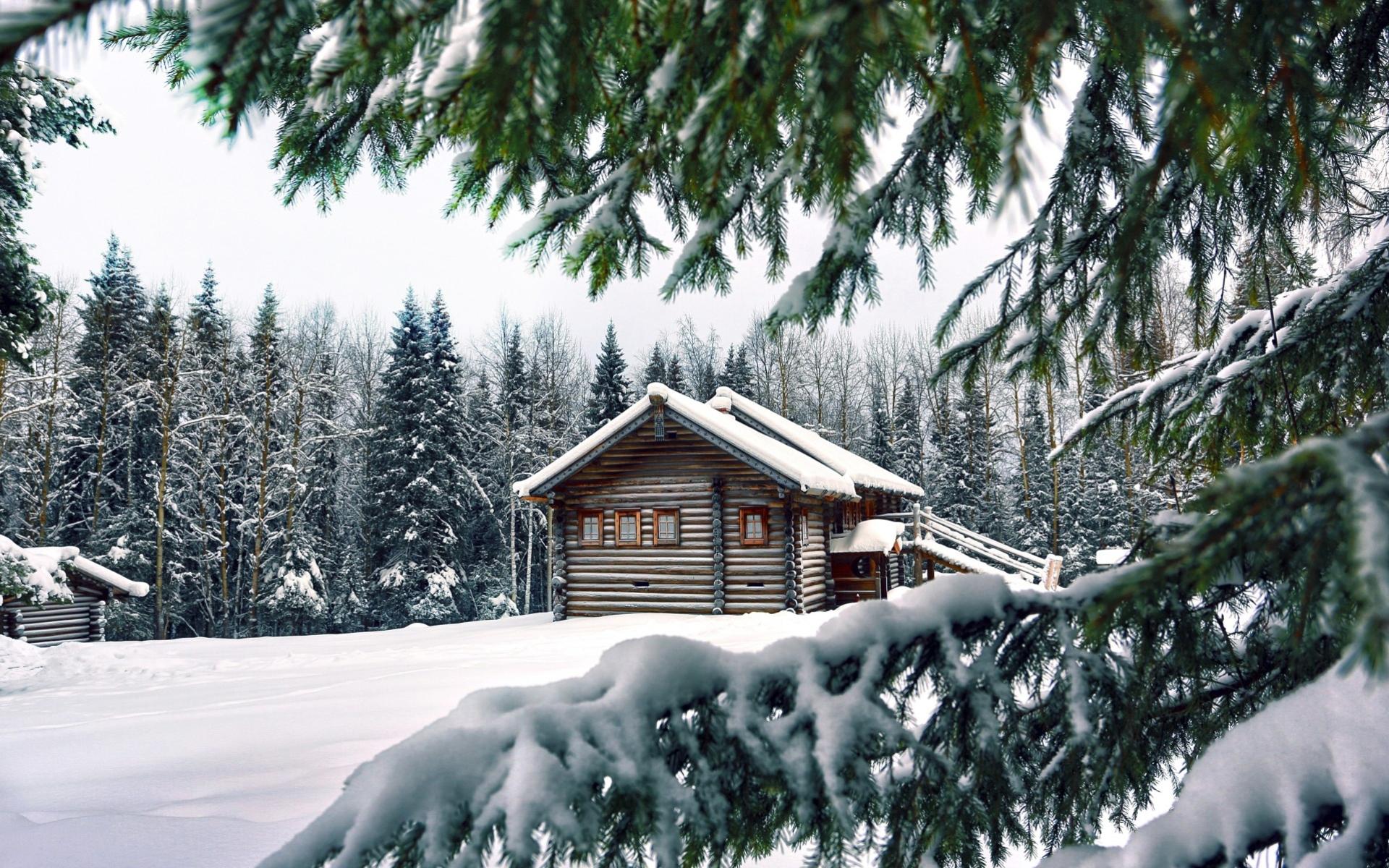 Домик в снежном лесу - C наступающим новым годом 2021 поздравительные картинки