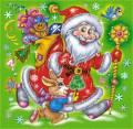 Дед Мороз с зайчиком идёт к детям - Детские на Новый год открытки и картинки