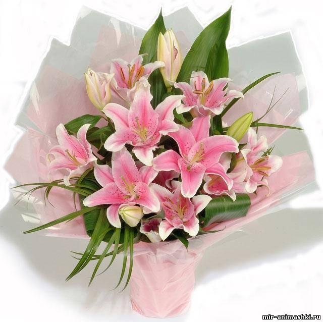 букет лилий 3 - Разные цветы - поздравительные открытки