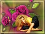 Девушка с цветами - Девушки открытки и картинки