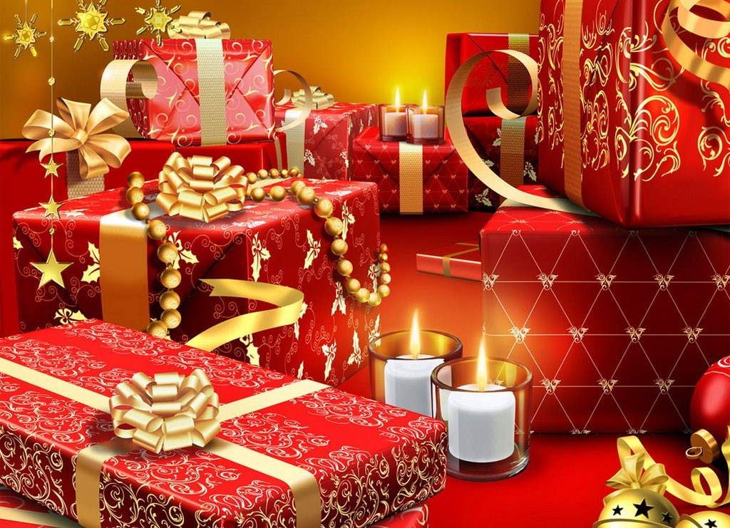 Новогодние подарки - C наступающим новым годом 2017 поздравительные картинки