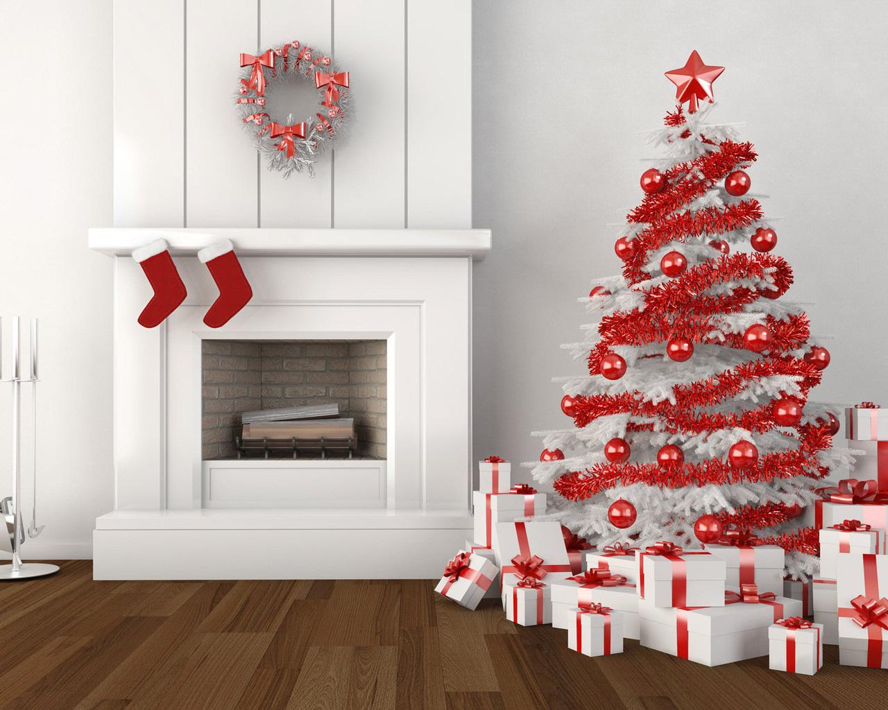 Новогодняя елка с подарками - C наступающим новым годом 2018 поздравительные картинки