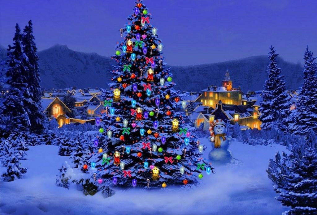 Красивая новогодняя елка - C наступающим новым годом 2017 поздравительные картинки