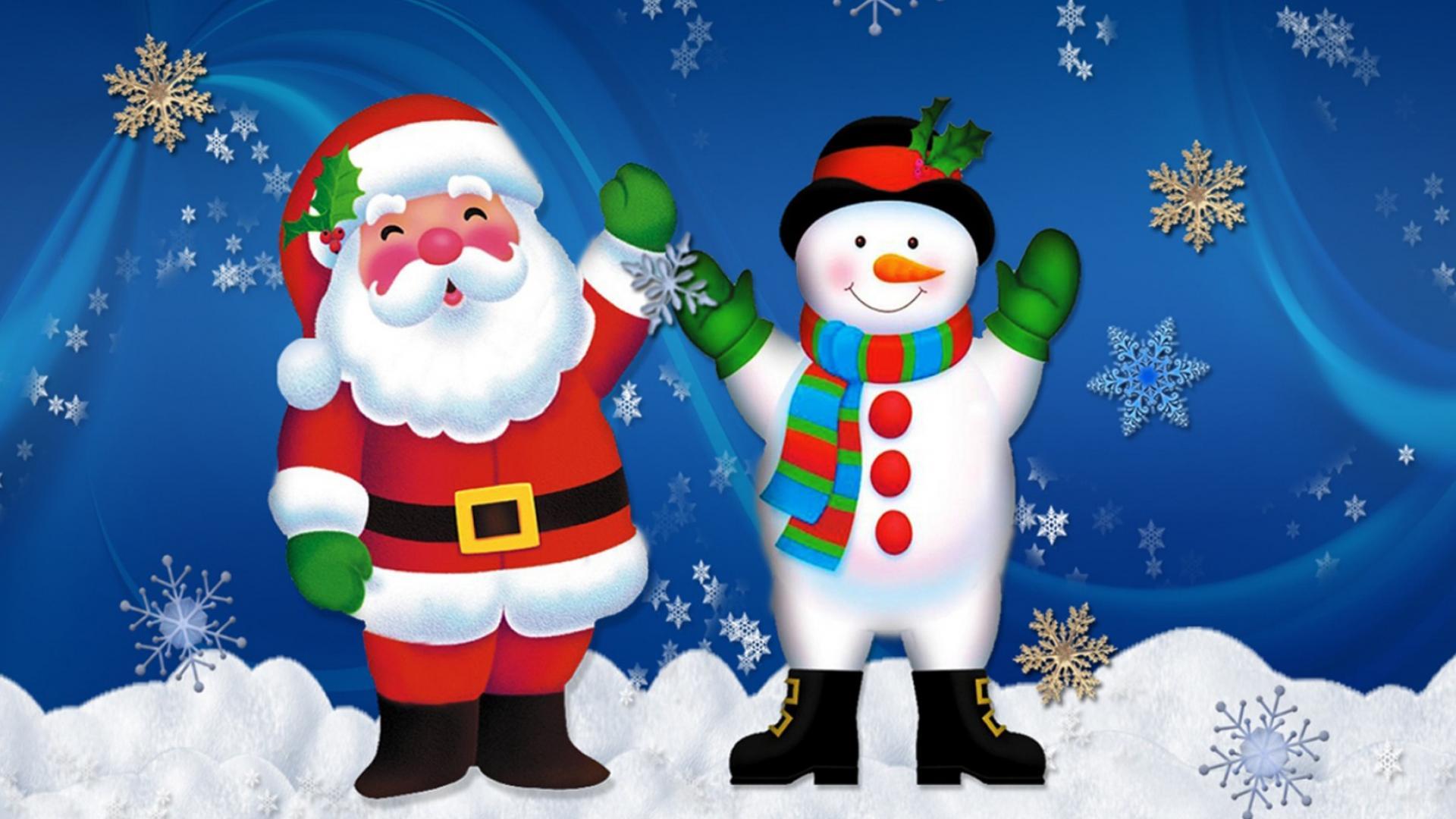 Дед Мороз и Снеговик - C наступающим новым годом 2018 поздравительные картинки