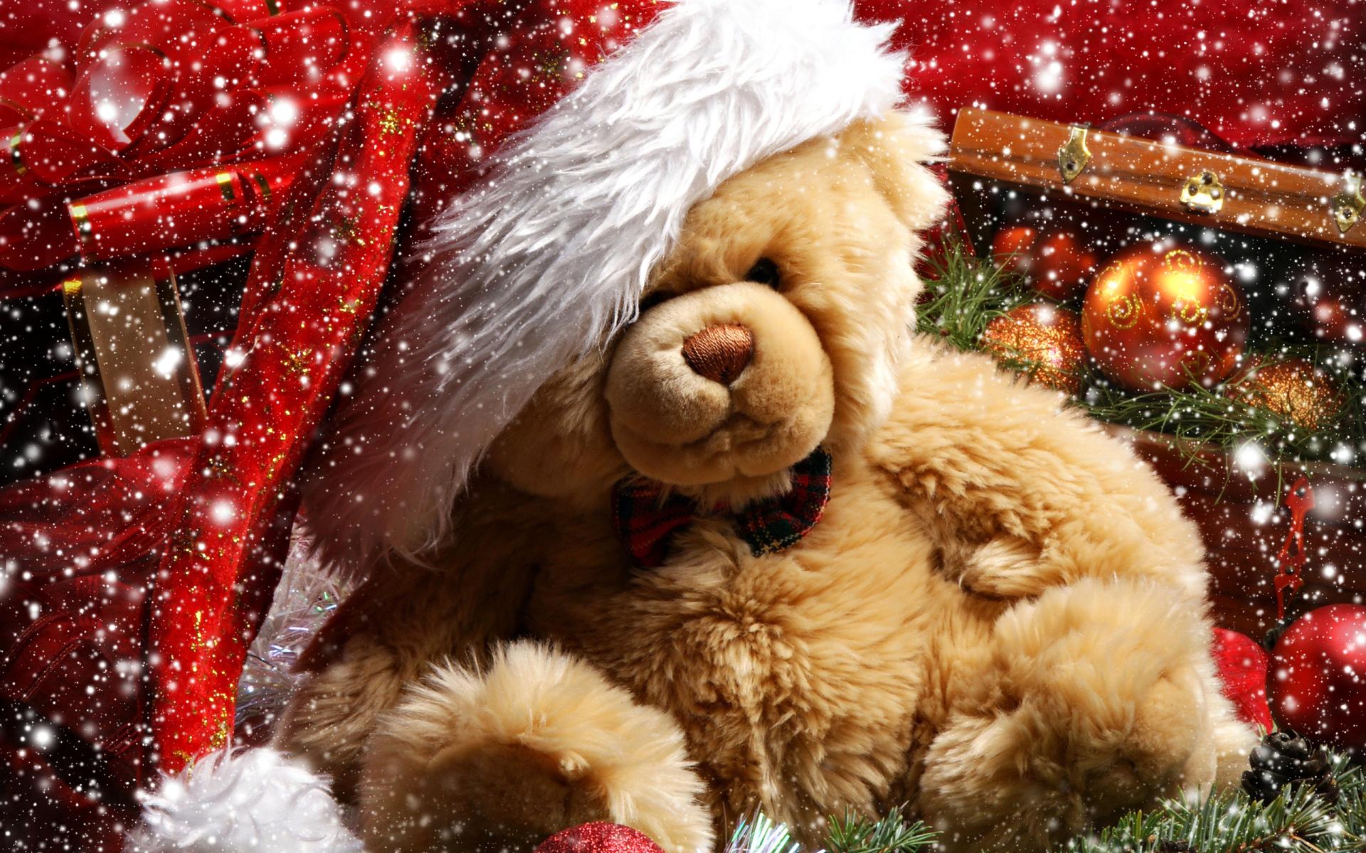 Мишка в подарок - C Рождеством Христовым поздравительные картинки