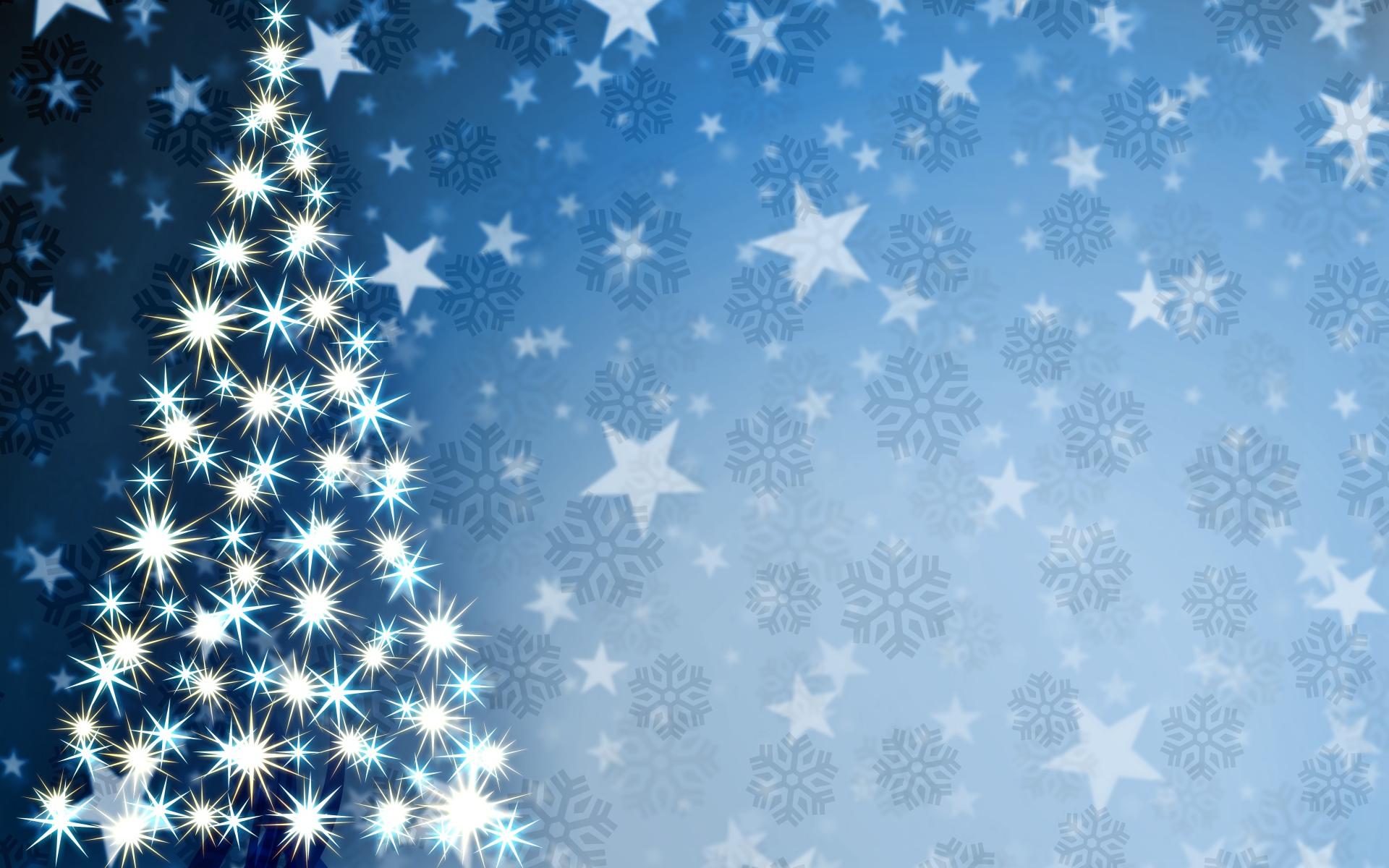 Елка на фоне звезд и снежинок - C Рождеством Христовым поздравительные картинки