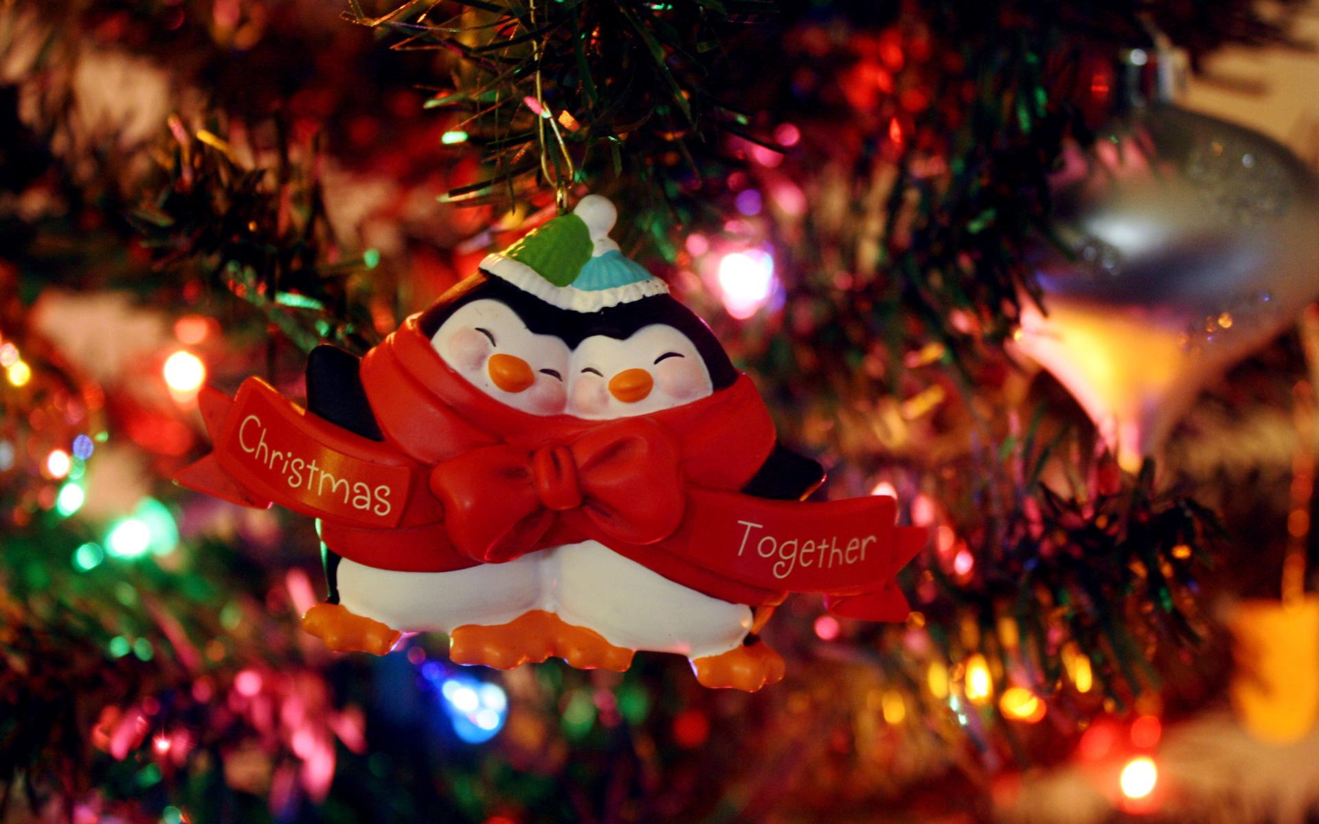 Игрушка два пингвина - C Рождеством Христовым поздравительные картинки