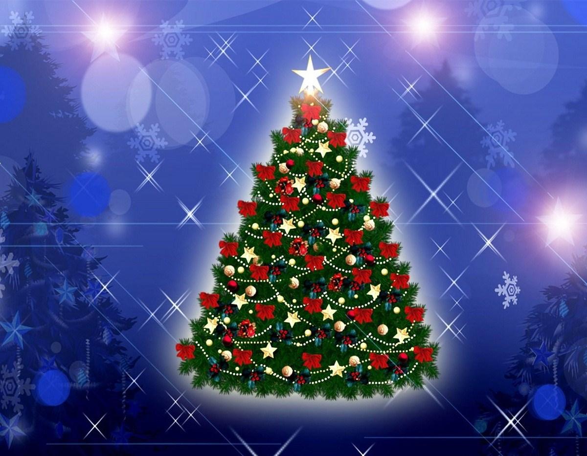 Новогодняя елка - C наступающим новым годом 2017 поздравительные картинки
