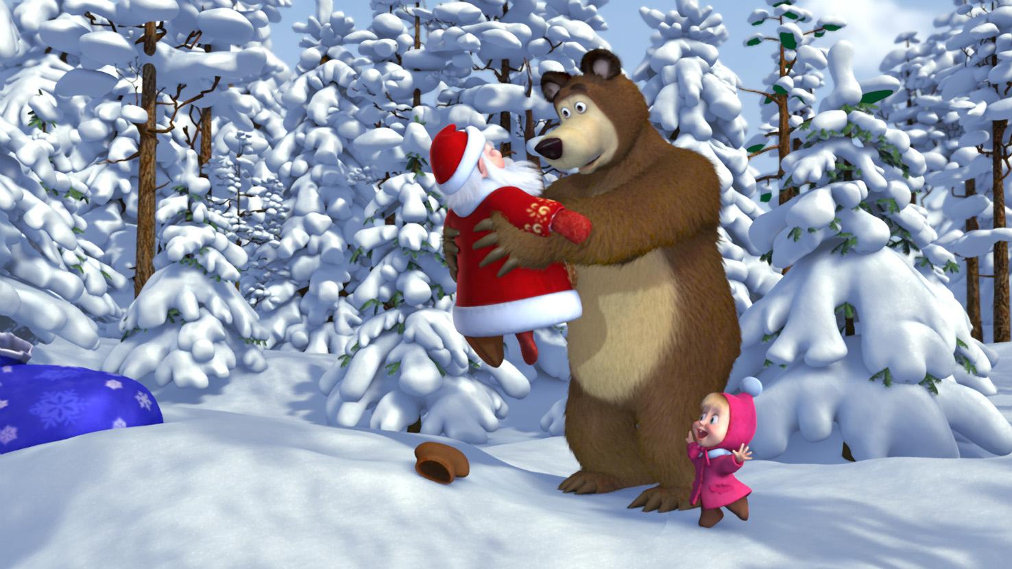 Маша и Медведь и дед Мороз - C наступающим новым годом 2017 поздравительные картинки