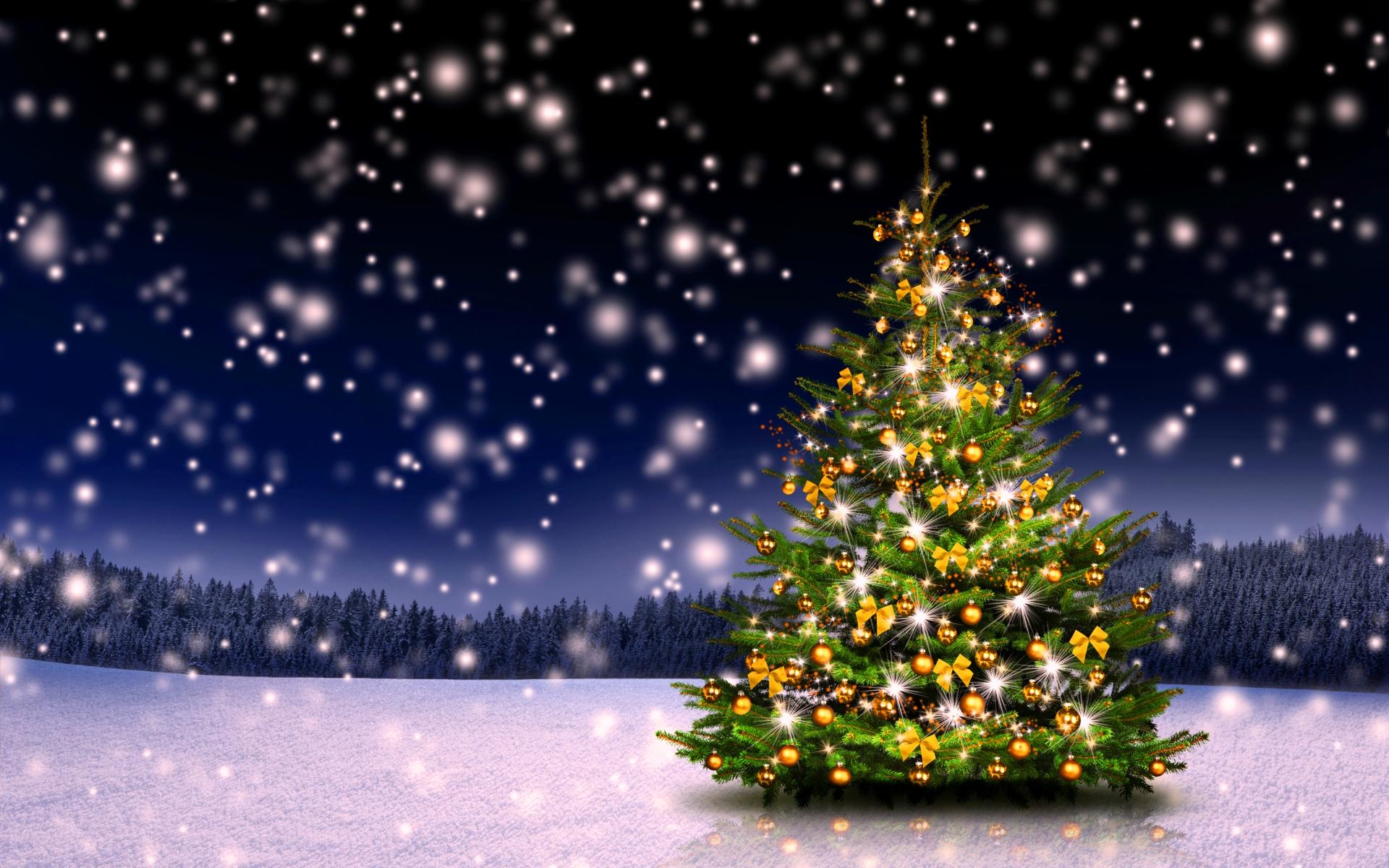 Новогодняя елка на поляне - C Новым годом  2018 поздравительные картинки
