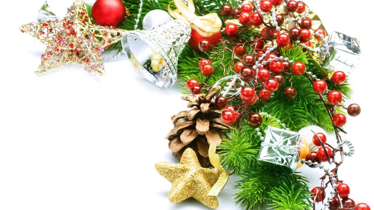 Украшенная ёлочная ветка на рождество - C Рождеством Христовым поздравительные картинки