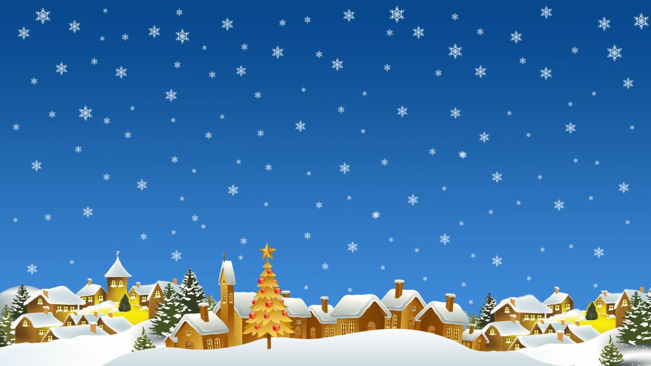Снежная зима на Рождество - C Рождеством Христовым поздравительные картинки