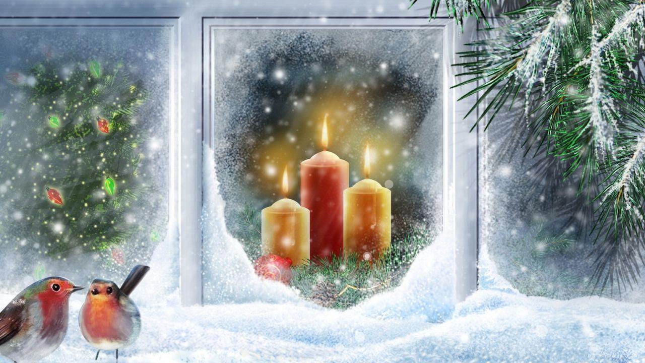Птицы на окне в Рождество - C Рождеством Христовым поздравительные картинки