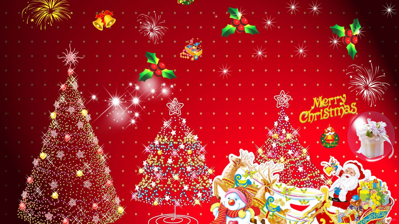 Весёлая картинка в красных цветах на рождество - C Рождеством Христовым поздравительные картинки