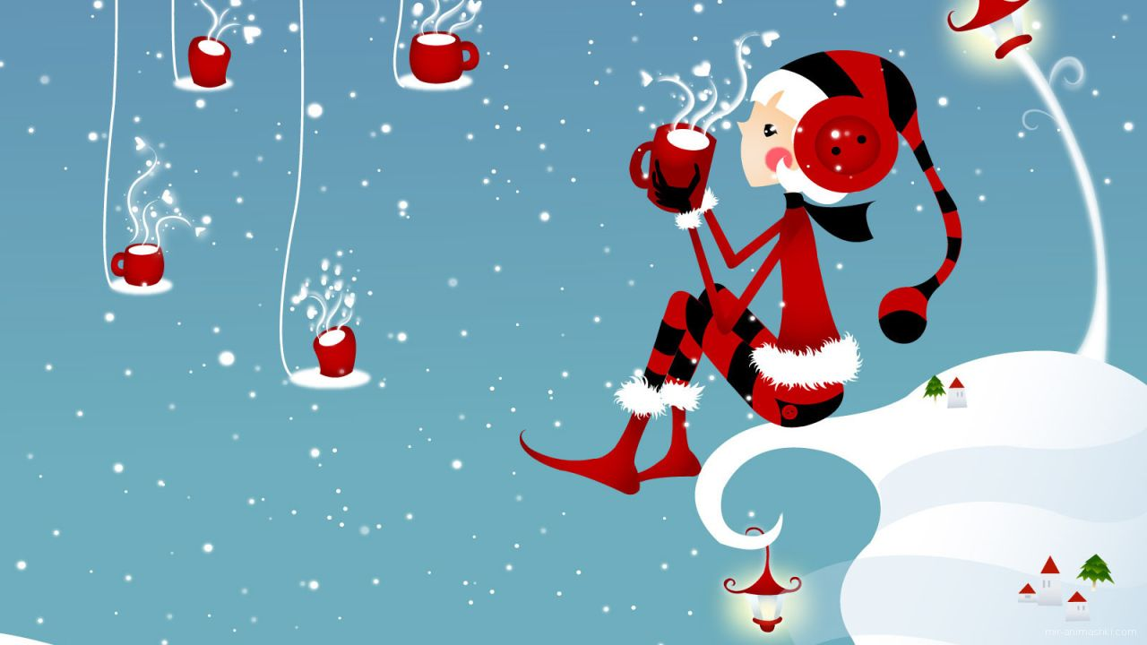 Девочка с чашкой чая на Рождество - C Рождеством Христовым поздравительные картинки