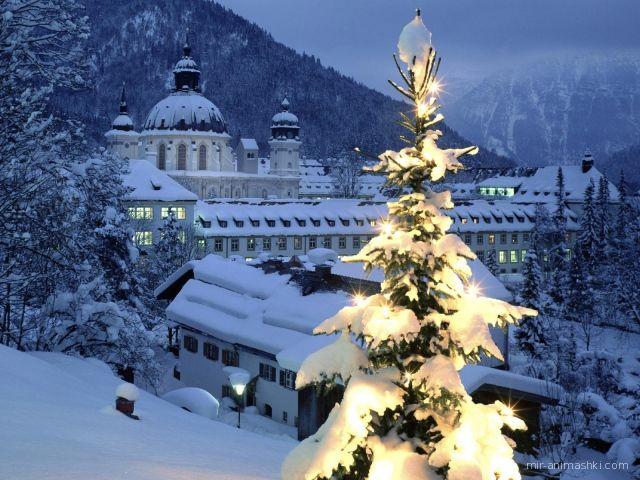Рождество в горах - C Рождеством Христовым поздравительные картинки