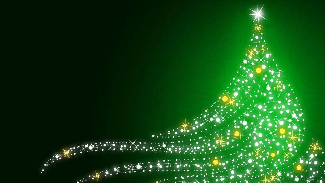 Мерцающая ёлка на рождество, зелёный фон - C Рождеством Христовым поздравительные картинки