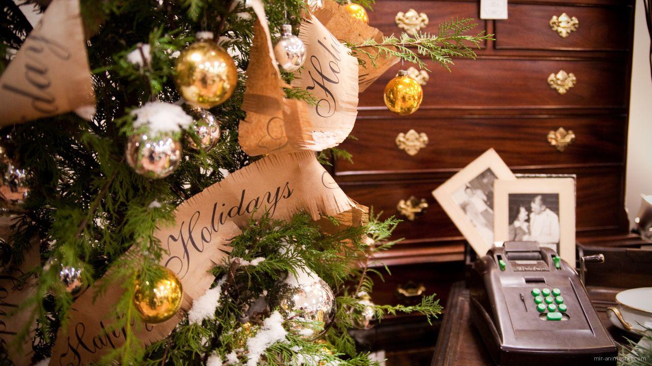 Заснеженная ёлка в уютной комнате на рождество - C Рождеством Христовым поздравительные картинки